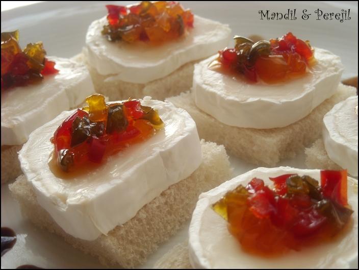Mandil perejil canap s de queso de cabra con pimientos for Canape queso de cabra