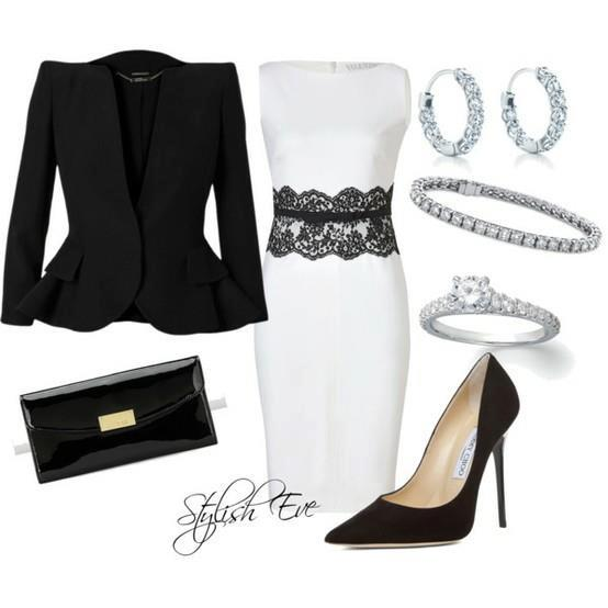 Black jacket, white blouse with black lace, high heel shoes and hand bag for ladies