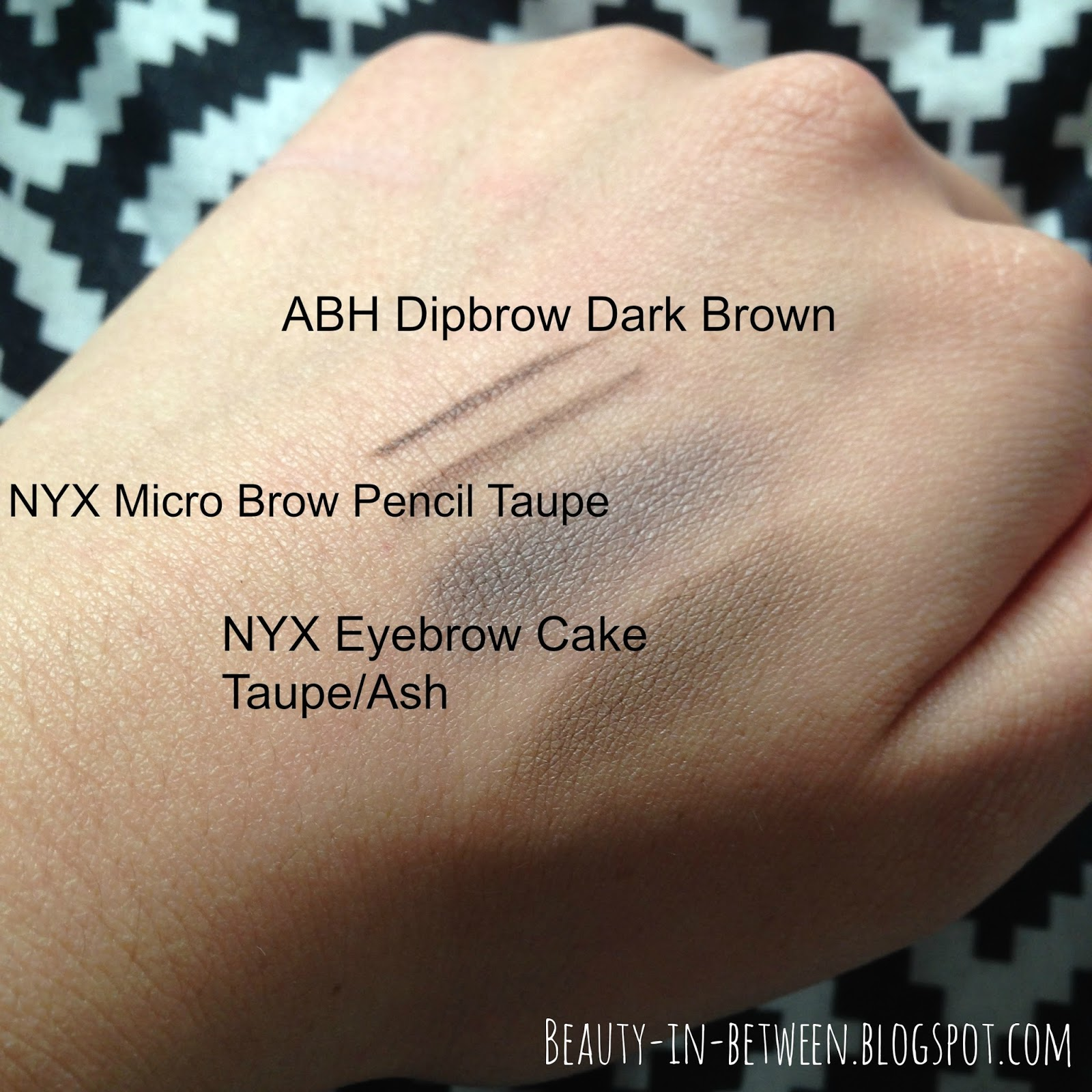Beauty In Between Eyebrow Products For Dark Hair Swatches