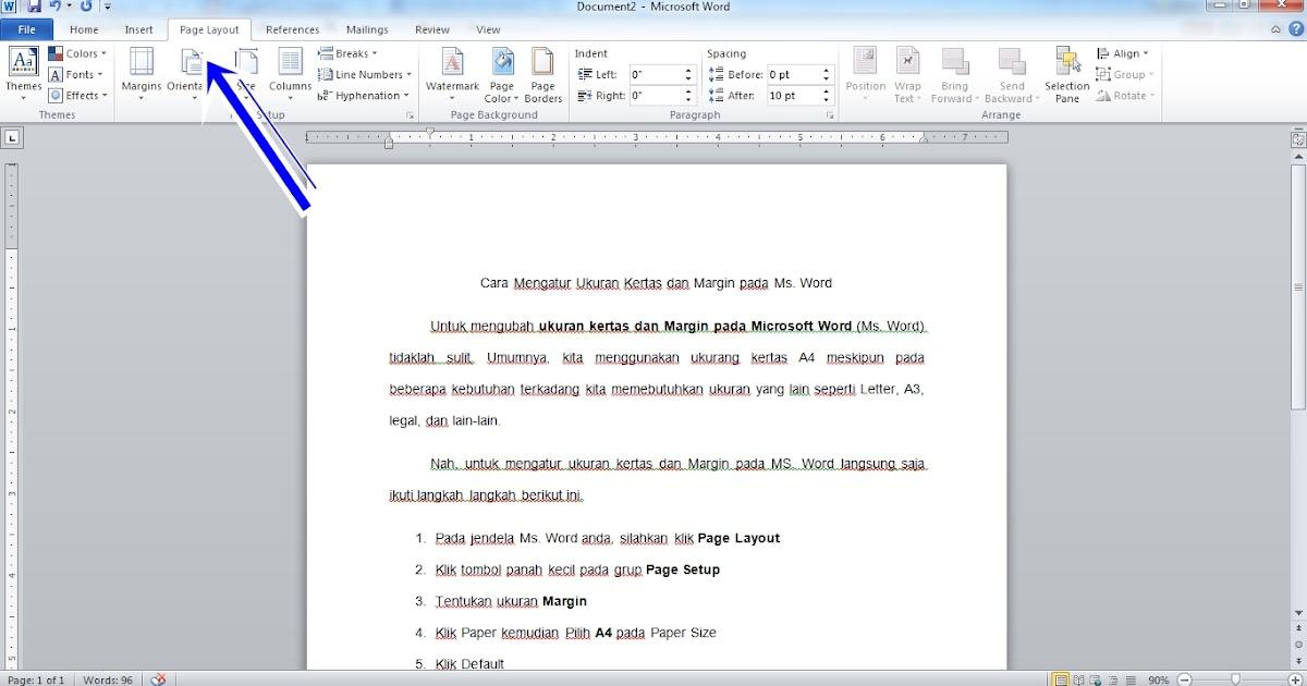 Cara Mengatur Ukuran Kertas Dan Margin Pada Ms Word Tugas Kuliahku