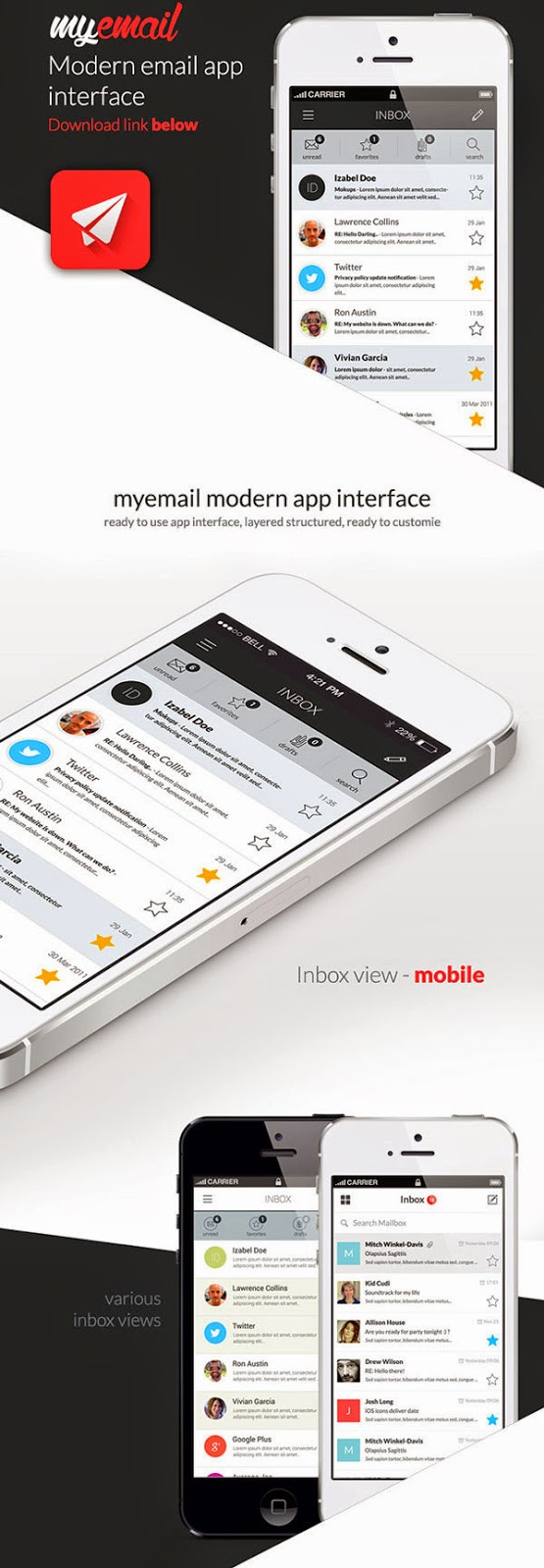 Flat Mail App UI PSD