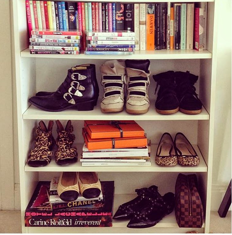 Shoe wall the coveteur Isabel Marant Toga Pulla Chanel Valentino Rockstuds