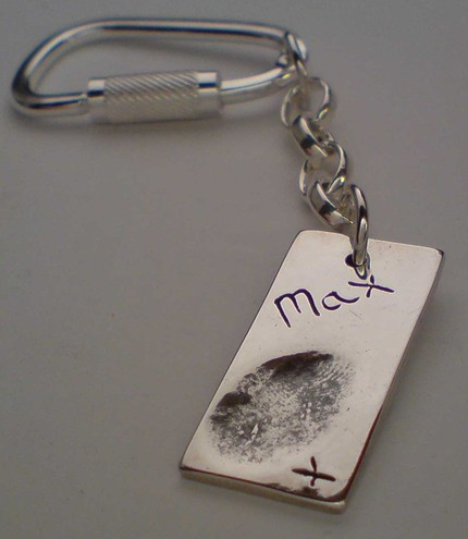 Silver Fingerprint Keyring