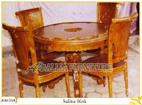 Kursi dan Meja Makan Kayu Jati Ukiran Salina Blok