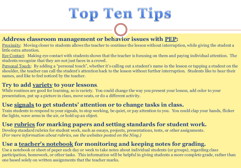 class room management tips