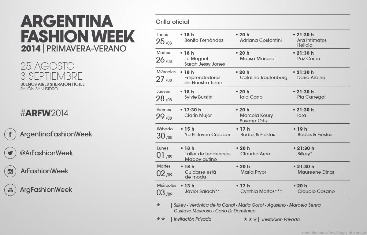 Moda primavera verano 2015 Argentina Fashion Week grilla de desfiles..