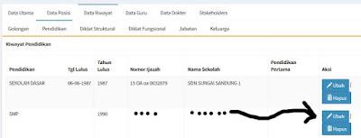 cara mengisi mengedit meng up date data riwayat pendidikan di PUPNS BKN