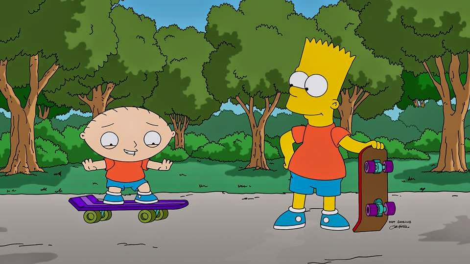 Stewie Griffin learns skateboarding from Bart Simpson in The Simpsons Guy crossover episode