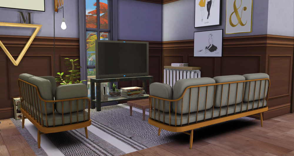 My sims 4 blog ts3 back to retro living room conversion for Living room designs sims 4
