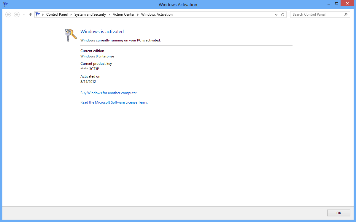 windows 8 product key activation 2012