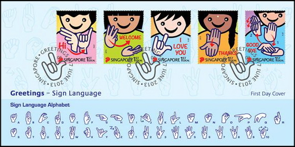 Postcard interchange greetings 2013 sign languages this stamp issue which will be released on 17 june 2013 by singapore post will bring good cheer to you as you learn the greetings in sign languages m4hsunfo