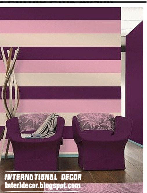 modern living room striped wall paint scheme design purple