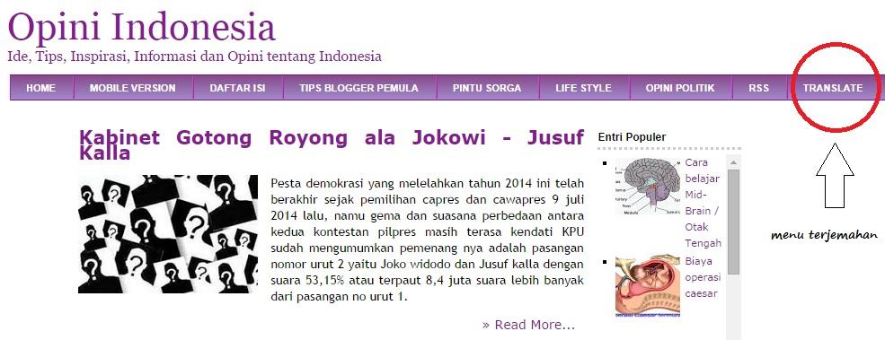 Optimasi blog dengan widget google translate, tips blogger pemula, opini indonesia