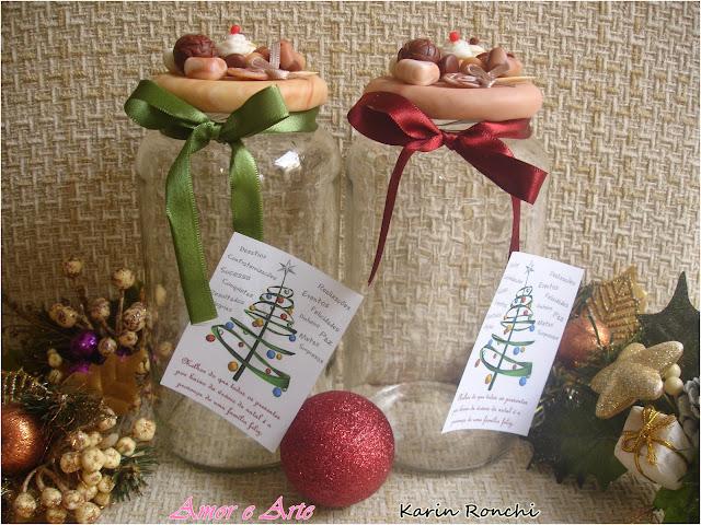 Vidro decorado em biscuit, docinhos - presente de natal