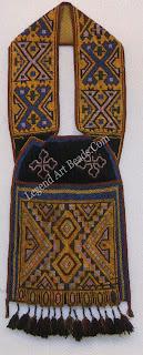 The elaborate geometric patterning of the eastern Plains on the Dakota (Sioux) bag.