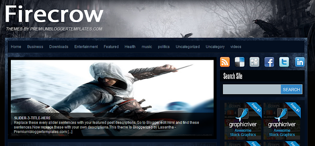 Firecrow - Gaming Theme Blogger Template