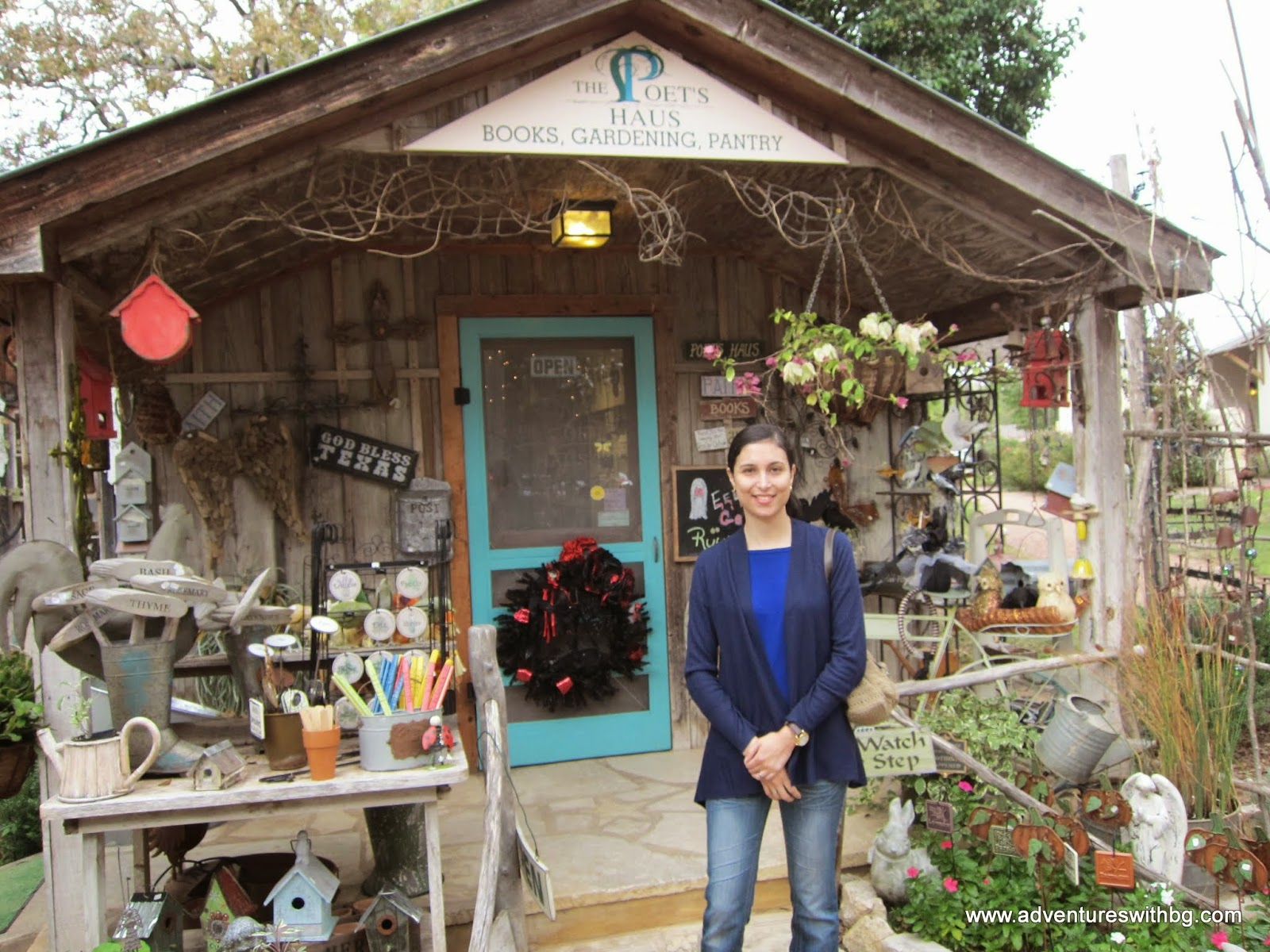 Linda in front of the Farm Haus Bistro gift shop