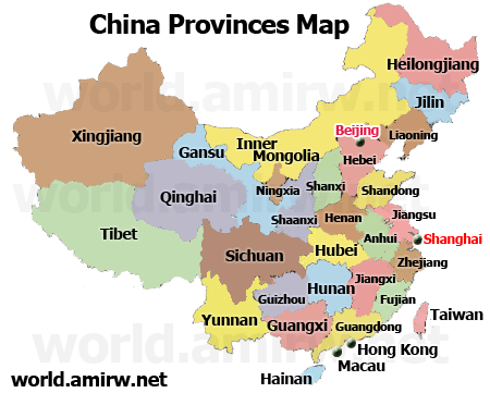 China Map In English.Map Of China Provinces In English