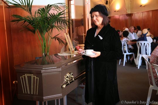 Laura Cleveland, Wanganui, at Death by Chocolate, in the memorial chapel at Dunstall's Funeral Parlour, Napier. photograph