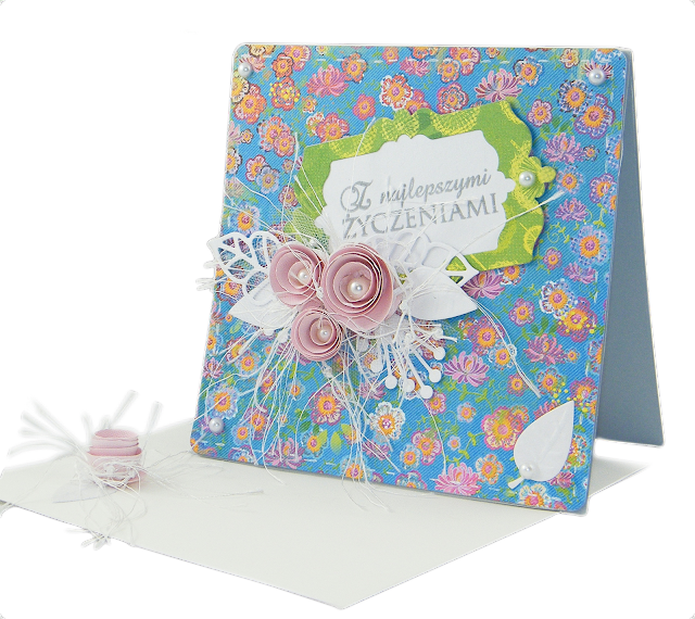 pomysł na kartkę urodzinową dla dziewczyny kolorowa kartka papier do scrapbookingu  lemonade after the rain wykrojniki róże chińskie