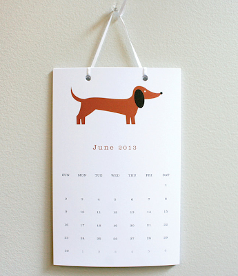 2013 dog calendar - page shown is a dachshund