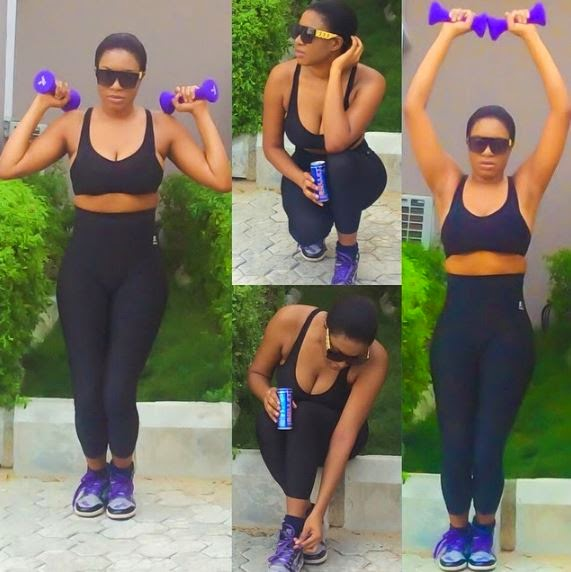 Chika Ike flaunts her sexy workout body