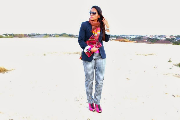 ASOS Blazer, Hot Pink Blouse, Gap Trousers, Silk Scarf, Tanvii.com