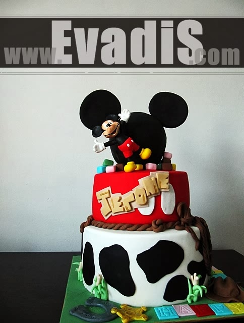 Picutre of Mickey Mouse Cowboy Tiers Cakes