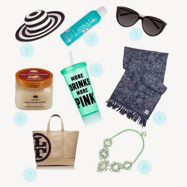 summer essentials, summer, sun hat, sunscreen, sunglasses, beach blanket, water bottle, body scrub, beach bag, bauble bar