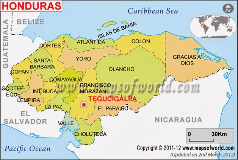 Raquel Granados - Honduras country political map