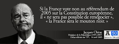 Citation de Jacques Chirac pour le oui à la Constitution Européenne