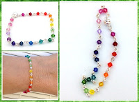 Rainbow Colored Link Crystal Bracelet