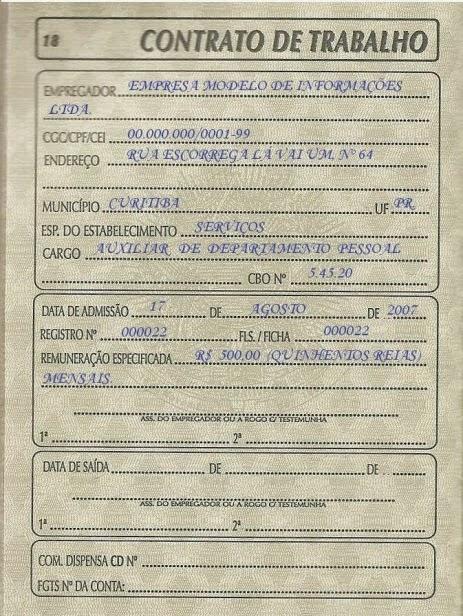 Resenha trabalhista carteira de trabalho Modelo contrato empleada de hogar interna