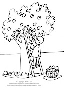Dibujo de un niño cosechando frutas para imprimir y colorear dibujo de un ni cosechando para imprimir colorear