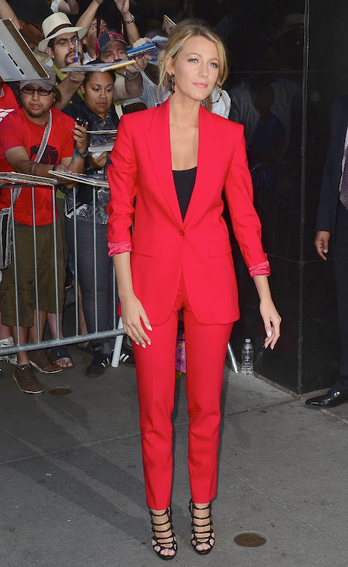 Blake Lively gorgeous in a red outfit