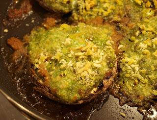 Stuffed baked mushrooms filled with bread crumbs, mushroom stems ...