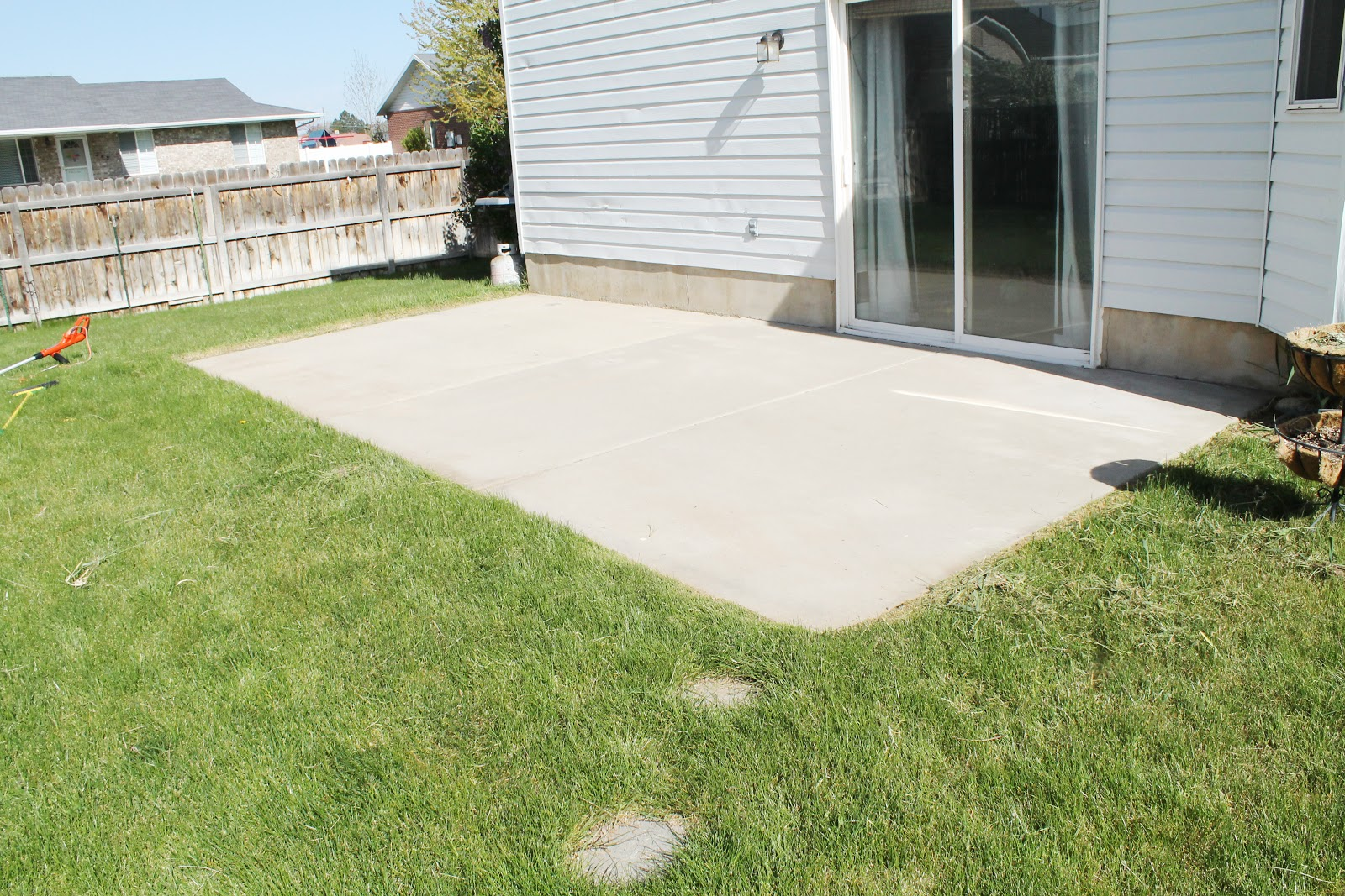 how to stain a concrete patio - chris loves julia - Concrete Slab Patio Ideas