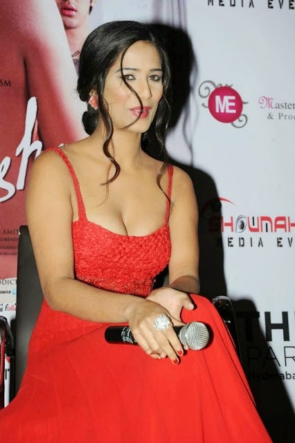 Poonam Pandey - Showing Hot Cleavage In Red Dress at a Event