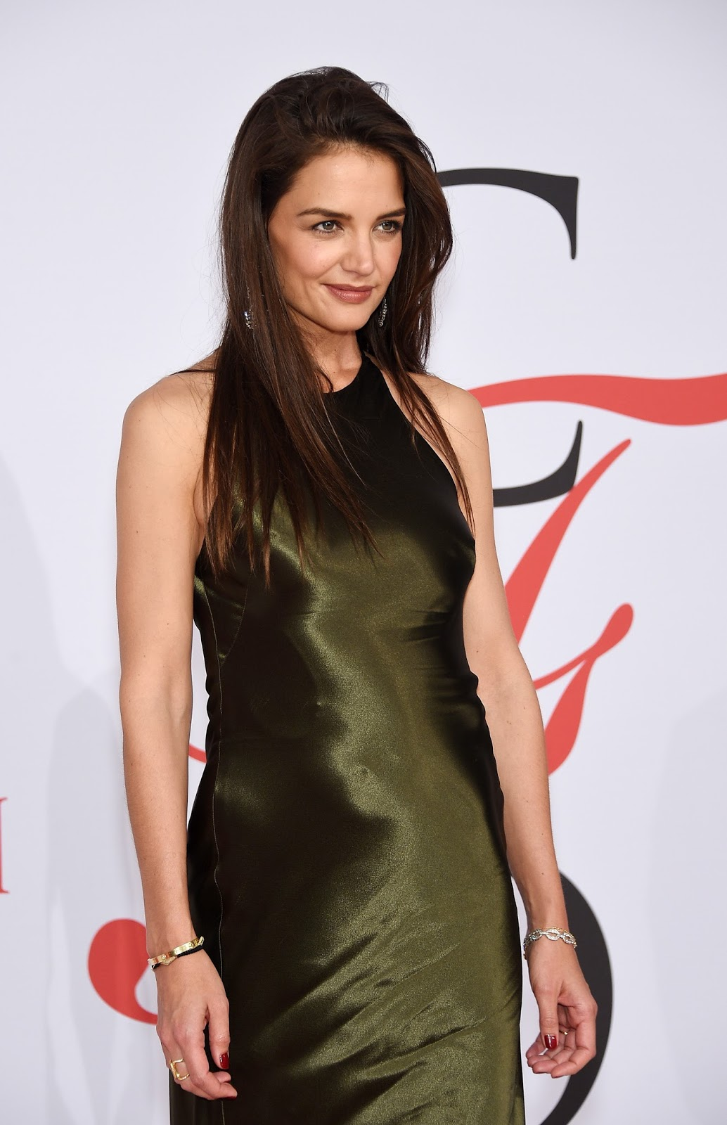 Katie Holmes - brown satin dress
