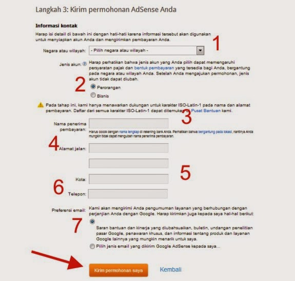 step 5 daftar adsense via blogger