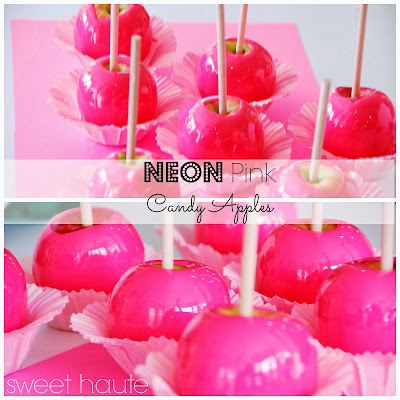 Neon Pink Candy Apples