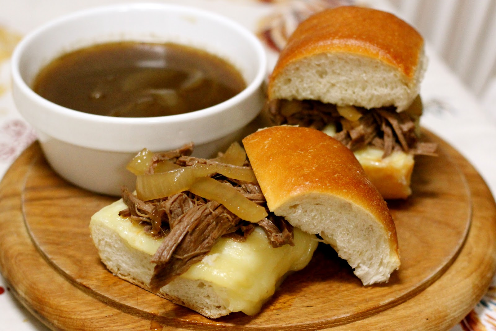 Balsamic Roast French Dip Sandwich Recipe from addapinch.com..