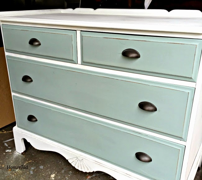 A Ballard Inspired Two Toned Dresser Makeover www.homeroad.net
