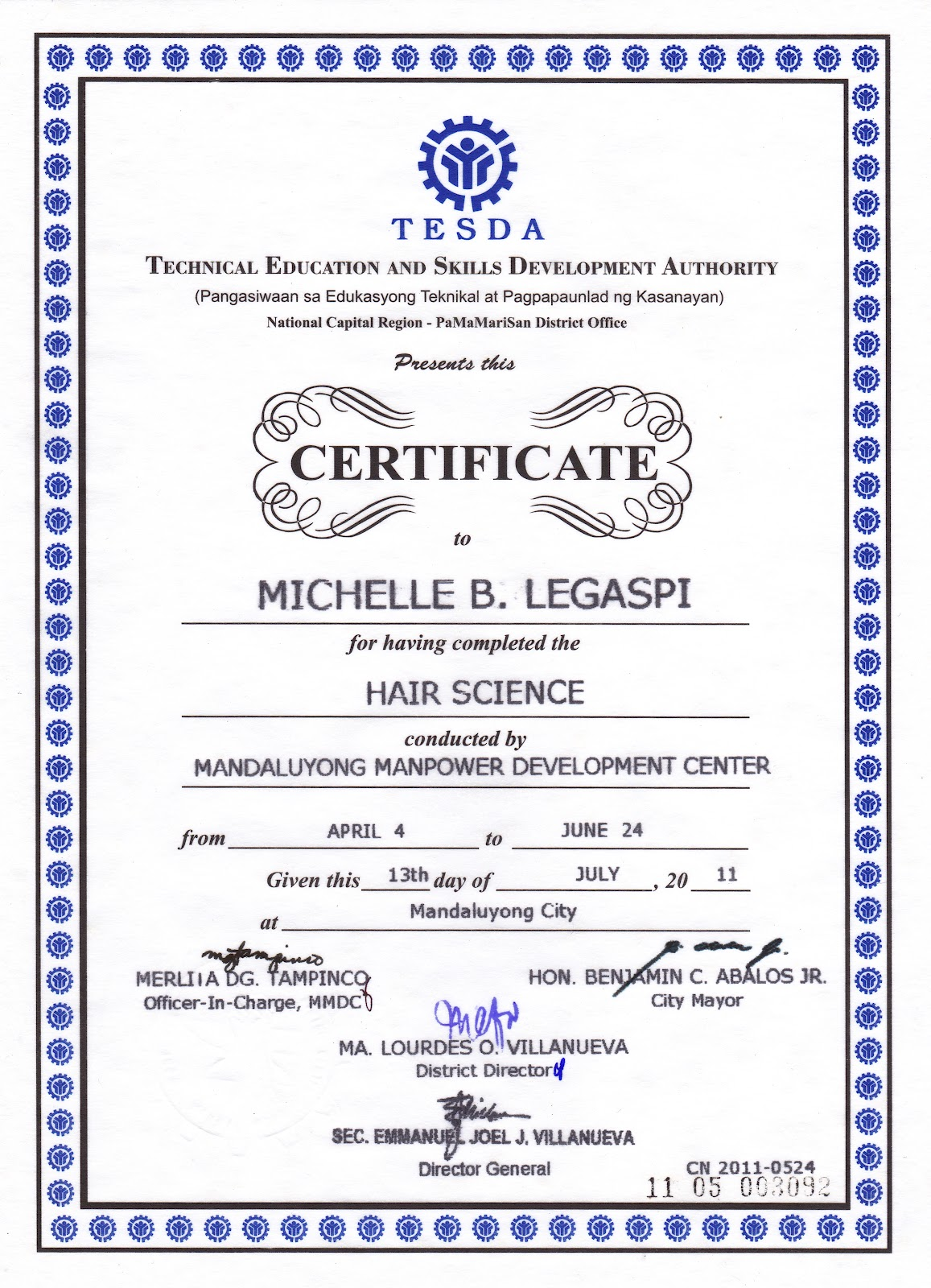 make a certificate of completion  HMUA Myke Legaspi: My Hair