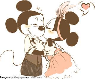 Mickey y minnie mouse enamorados