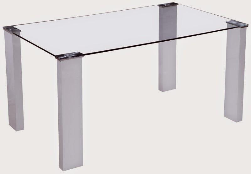 Mesa Cristal y aluminio blanco