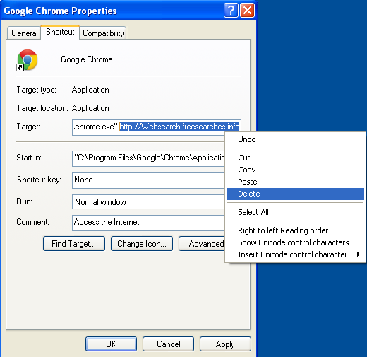 Malicious properties shortcut Websearch.freesearches.info