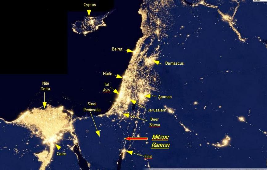 Astronomy Israel Israel Light Pollution Map - Bortle dark sky scale map