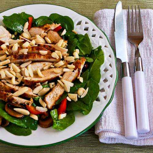 Asian Spinach Salad with Chicken, Mushrooms, Peppers, and Almonds