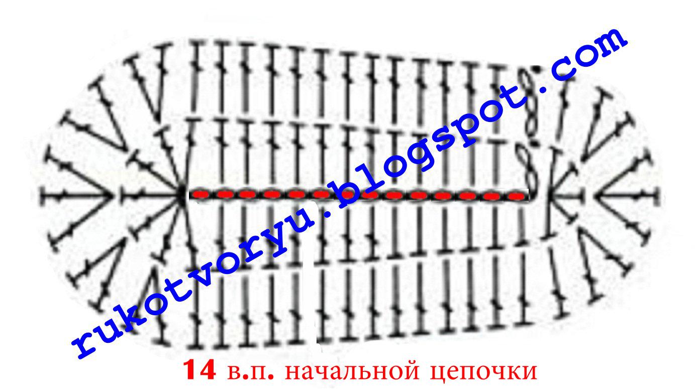 вязание подошвы крючком схема